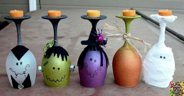 Halloween candle holders from wine glasses