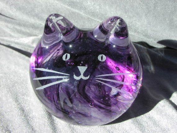 Purple Clear Solid Cat by GlassCatsStudios on Etsy, $88.00