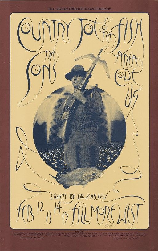 Country Joe & the Fish, Sons of Champlin, Area Code 615 - Lights by Dr. Zarkov - Bill Graham Presents in San Francisco - Fillmore West - February 12-15, 1970