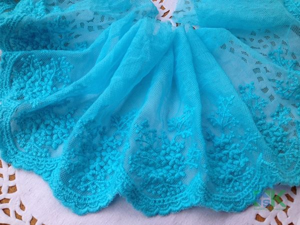Beautiful lace Colorful French Lace 3 Yard/lot Handmade diy clothes accessories lace trim embroidery sky blue gauze embroidery 1 #Affiliate