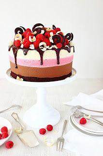 Chocolade-frambozenmousse taart