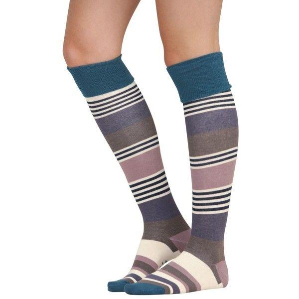 Deckchair Stripe Socks Long ($13) ❤ liked on Polyvore featuring intimates, hosiery, socks, stripe socks, long striped socks, striped socks, striped cotton socks and wide socks