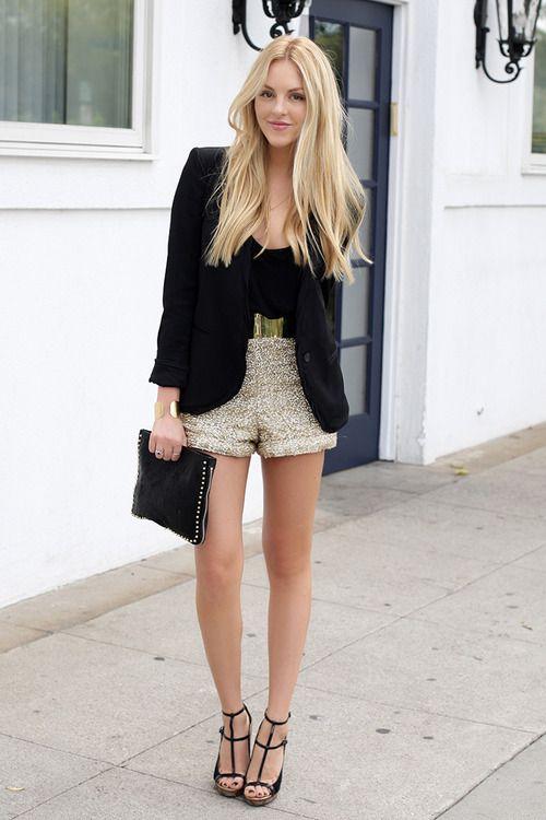 Black blazer and tank, gold shorts