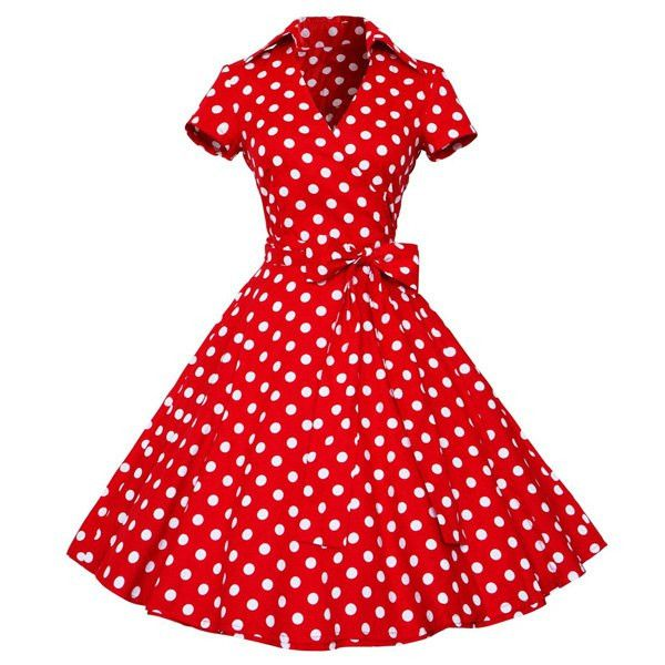 Super CUTE! Vintage Women's V-Neck Polka Dot Print Short Sleeve Ball Dress. Comes is Black, Red & Brown. Style: Vintage Material: Cotton Blend Silhouette: Ball Gown Dresses Length: Knee-Length (see Me
