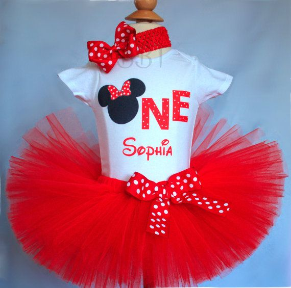 Red Minnie Tutu Outfit Birthday Tutu Outfit 1st by BabyBirthdayTee