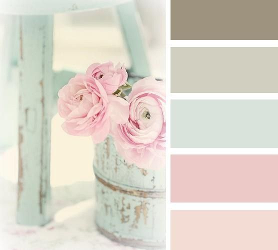 Shabby chic colour schemes are normally pastel shades contrasting with simple rustic colours such as mocha brown.  I really like this color palette.