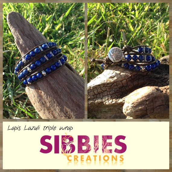 Lapis Lazuli triple leather wrap by SibbiesCreations on Etsy