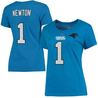 Women's Carolina Panthers Cam Newton Majestic Panther Blue Fair Catch V Name & Number T-Shirt
