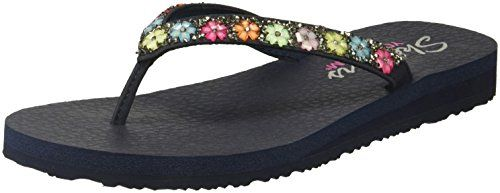 1cb6fc1449f70 Skechers Cali Womens MeditationDaisy Delight FlipFlop Navy 9 M US ...