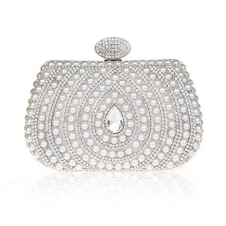kaxidy sac a main de soiree pochette soire de mariage perles imitation cristal sacs pochette - Pochette Argente Mariage