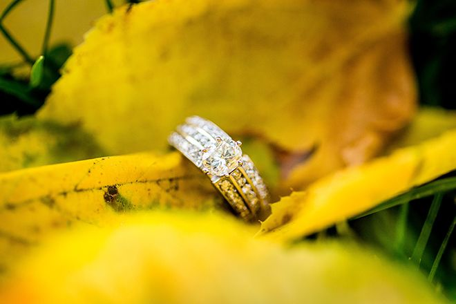 Engagement ring on leaf | Warm Autumn Engagement | Jaimie Johnson Photography
