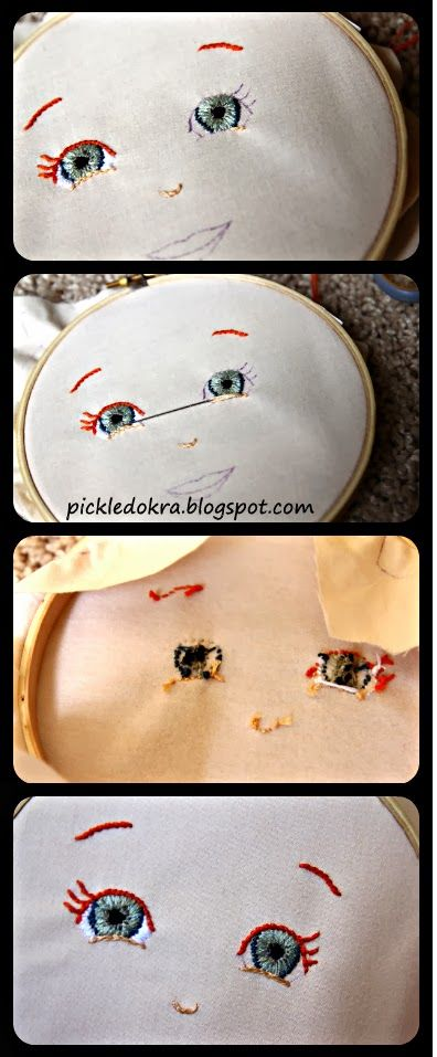 Pickled Okra:: How to embroider a doll's face.