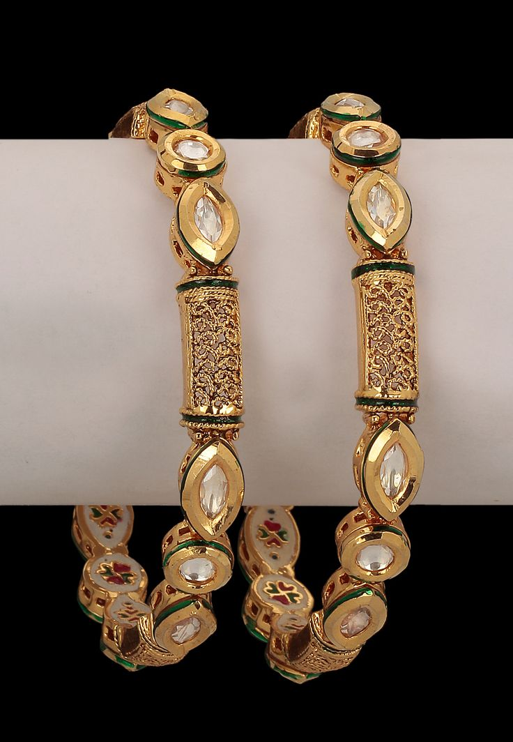 #White and #Golden Color Stone Studded #Bangles @ $106.06