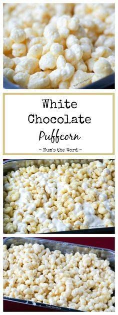 White Chocolate Puff White Chocolate Puffcorn is the easiest 10...  White Chocolate Puff White Chocolate Puffcorn is the easiest 10 minute treat that works well at any gathering! Baby Shower Bridal Shower Birthday Party or Christmas gift! #dessert #appetizer #snack #puffcorn #chocolate #whitechocolate #holiday #christmas #gift #recipe #numstheword Recipe : http://ift.tt/1hGiZgA And @ItsNutella  http://ift.tt/2v8iUYW