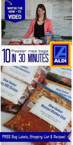 Ever since I posted our original Week of Easy Freezer Meals in under an hour I have been getting so many requests for another Freezer Meal Plan. I am so excited today to share with you our NEW 10 Freezer Meal Bags from Aldi in UNDER 30 Minutes meal plan!