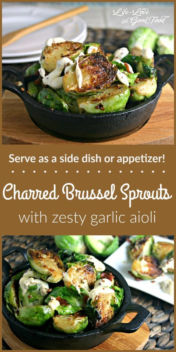 Charred Brussel Sprouts with Garlic Aioli | Life, Love, and Good Food #recipe