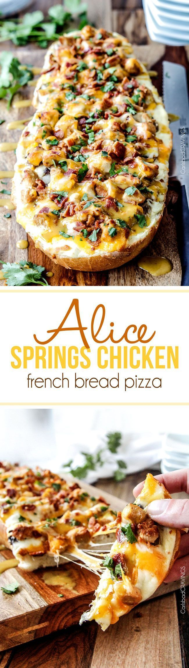 Cheesy Alice Springs Chicken French Bread Pizza - everything you love about the Outback chicken but in easy, delicious pizza form! AKA the most addicting party food or dinner EVER and can be made ahea (Chicken Marinade Dijon)