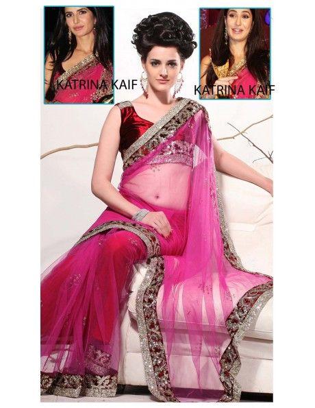Impressive Magenta Net Sari Item code : SVA9023