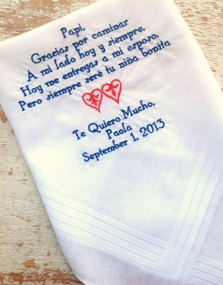 A personal favorite from my Etsy shop https://www.etsy.com/listing/160279499/embroidered-wedding-handkerchief-custom