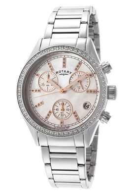 Rotary LB00025-41 Watches,Women's Chronograph Austrian Crystal White MOP Dial Stainless Steel, Women's Rotary Quartz Watches