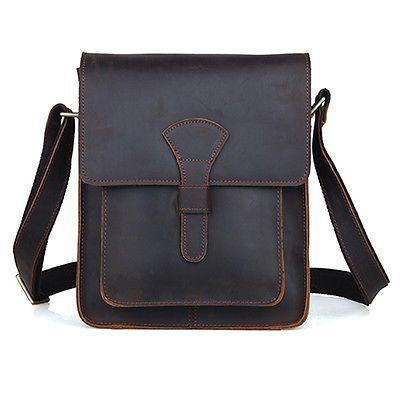 Men/'s Rustic Genuine Leather Messenger Shoulder Bag Small Cross Body Satchel New