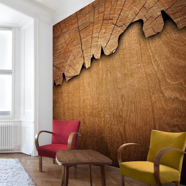 Tapete Holzoptik - Vliestapete Premium - Holzstruktur II - Holz Fototapete Quadrat