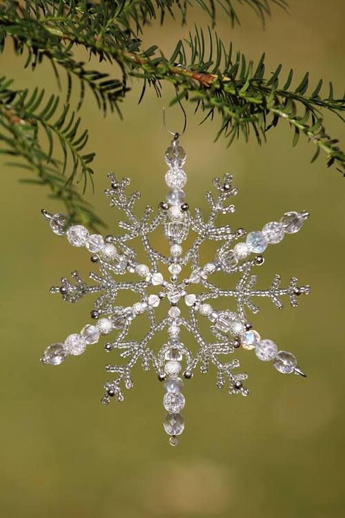Beaded Snowflake -- I like how this has the big beads on the wire spokes, but also the lacy seed beads as well. #beaded