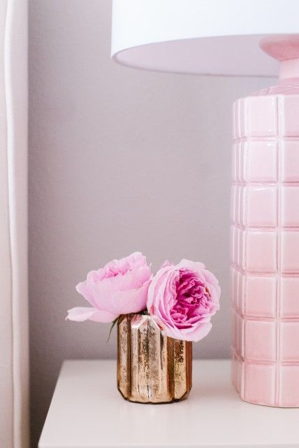Portfolio « The Interior Stylist - bedroom styling, arterior pink lamp and pink roses