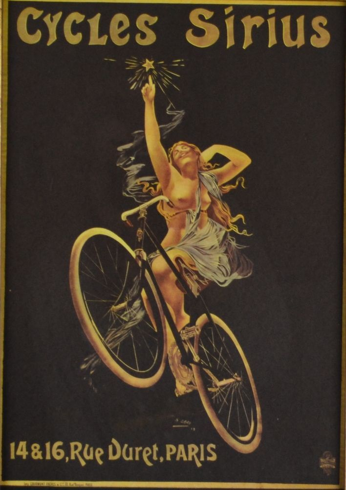 Vintage 1973 Book Plate Cycling Poster - Framed Nude Cycling Art French Nouveau