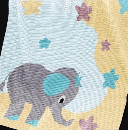 Crochet Pattern | Baby Blanket / Afghan - Elephant Stargazer