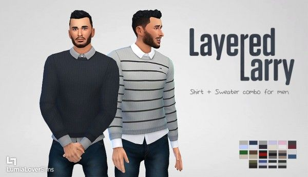 Clothing: Layered Lary shirt and sweater from Lumia Lover Sims • Sims 4 Downloads