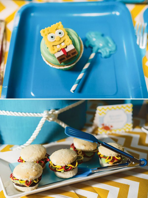 Krabby Patty cookies and Spongebob cupcakes for a Spongebob themed birthday party. Baker's Man.
