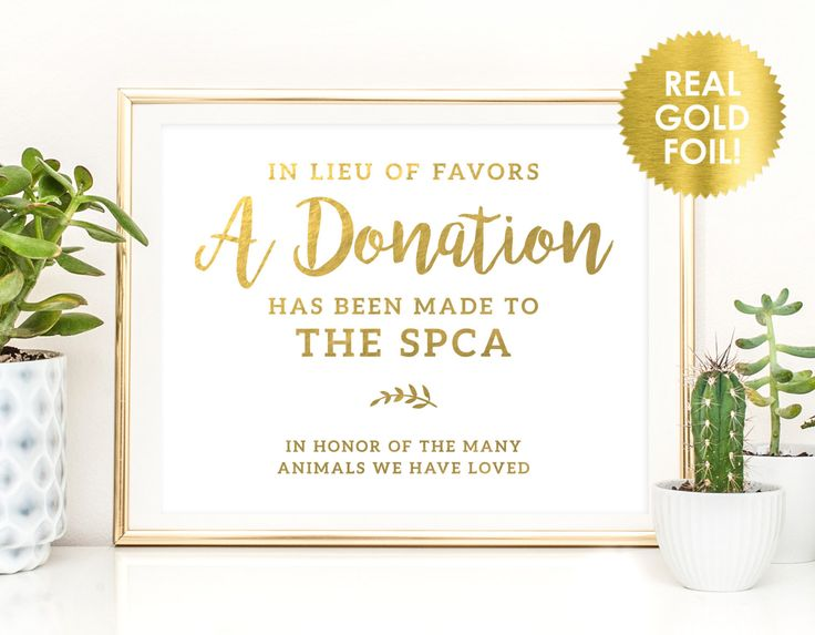 WEDDING DONATION SIGNS In Gold Foil Lieu Of Favors Donation Signs Charity Custom Wedding Favor