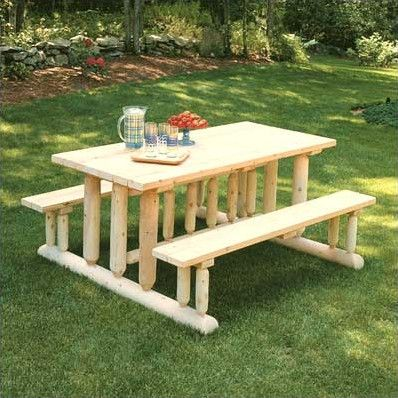 588 best images about log furniture on pinterest log for Rustic picnic table plans