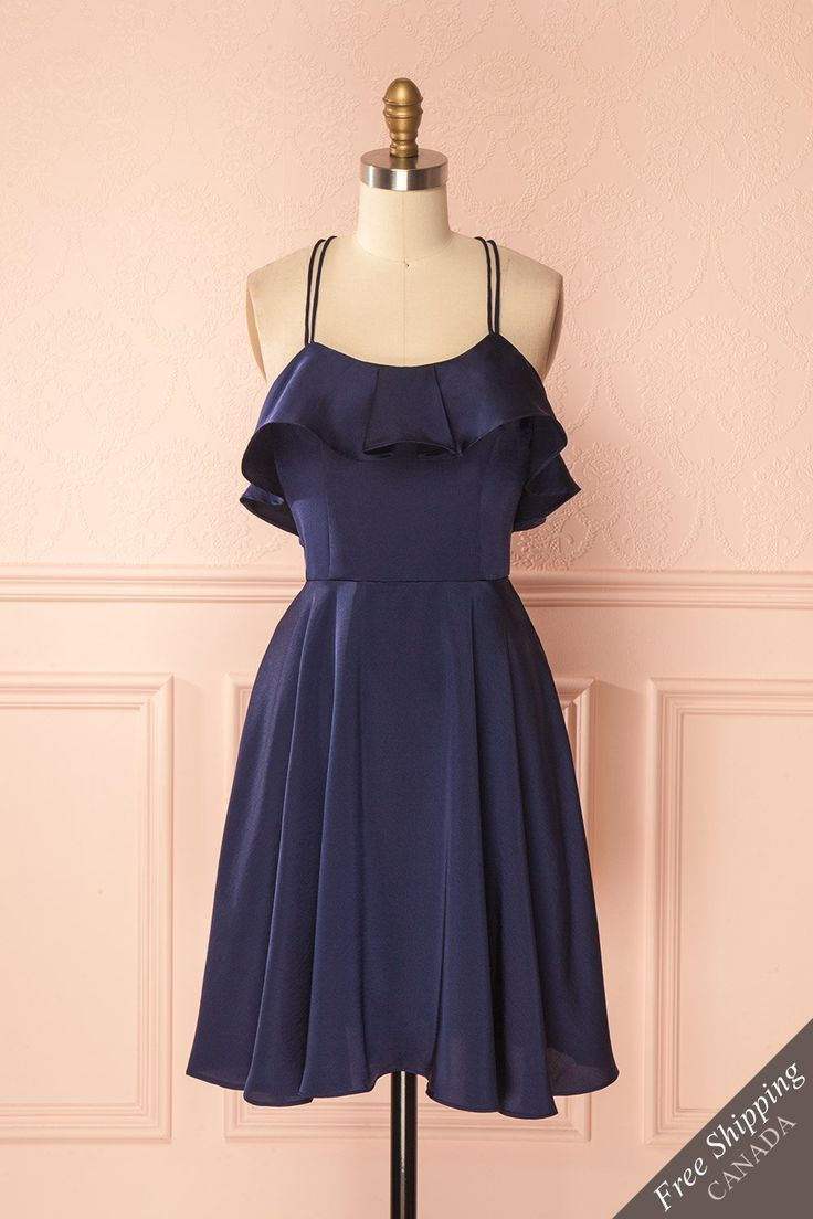 Shonda Navy / Are you looking for a dress that is sumptuous, comfortable, and incredibly charming? Look no further than this piece! Its satin material, ruffled bust, and pretty colour create a dream look for a memorable moment. The lightweight lining, crossing double straps, and back zipper are present for a comfortable wear. #boutique1861