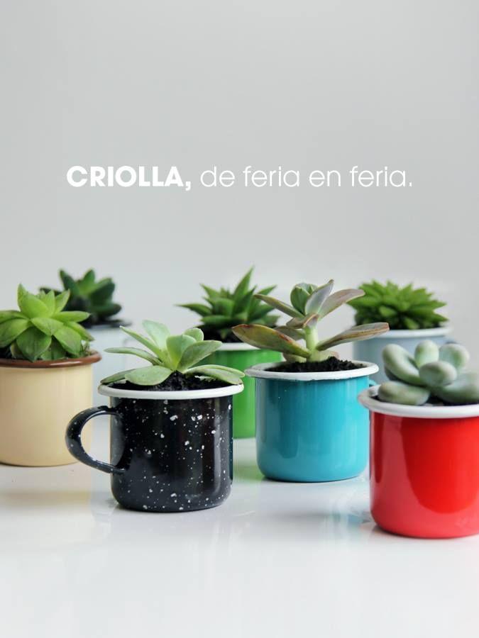 Criolla, temporada de ferias de diseño 2014 #enamelware #peltre #plant #garden #criolla #colombia #design #colors #blue #red #green