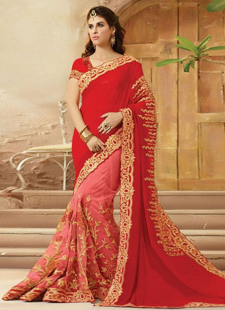 Ebullience Red Embroidered Saree - shopneez.com