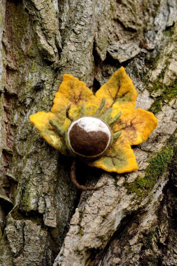 Fall is here! Big chestnut on this autumn brooch will bring you luck during this season.
