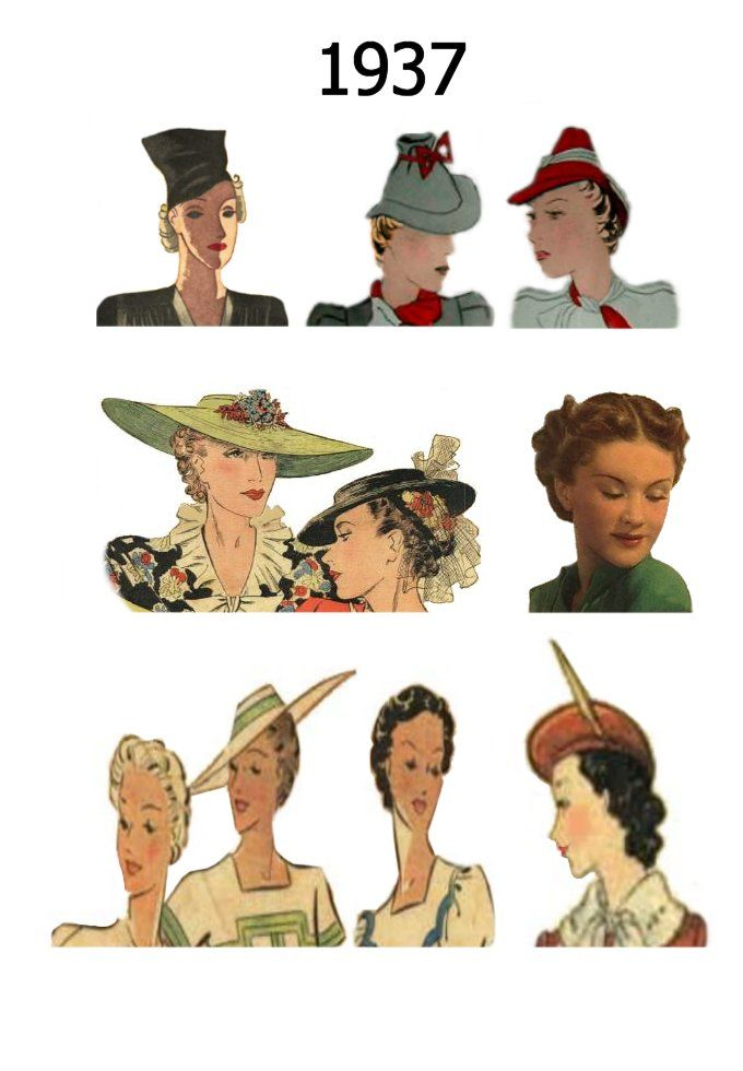 Pictures of Hats & Hairstyles Costume History 1937