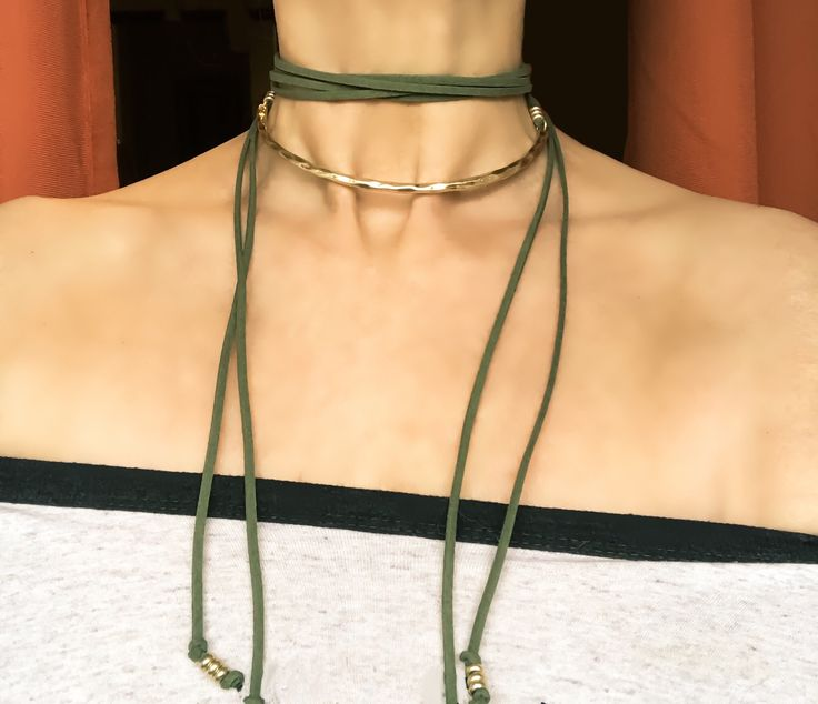 Sage Green Suede Choker with Gold Plated Collar piece  You can get so many looks with this 1 necklace!!! Great Find at Cactus Blues Boutique. Find them on IG, FB and Twitter . Website is www. cactusbluesboutique.com  Boho Style, Boho Jewelry, Gypsy Style