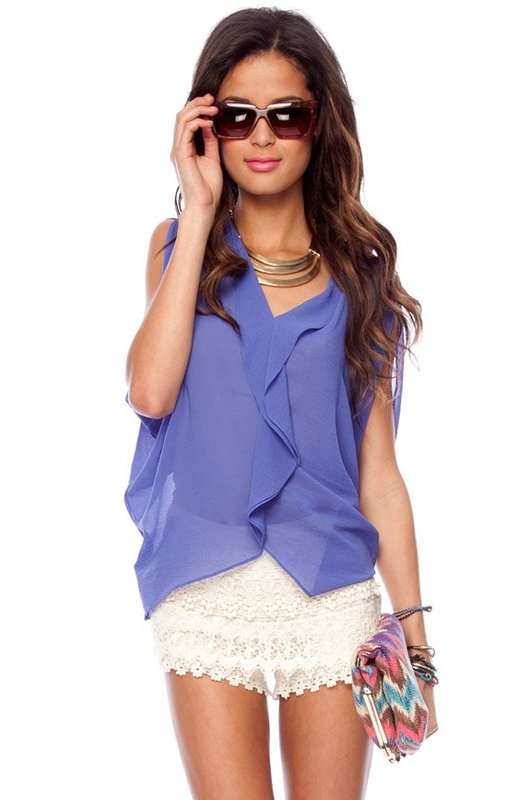 periwinkleWhite Shorts, Style, Colors, Periwinkle Tops, White Lace, Summer Night, Butterflies Tops, Lace Shorts, Lace Skirts
