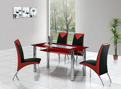 Hãy để phòng ăn của bạn trở nên sinh động hơn với bộ bàn ăn màu đỏ và đen này.