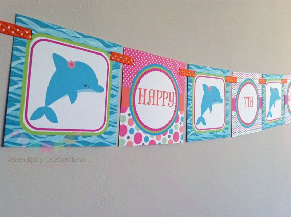 BRIGHT Dolphin Happy Birthday Word Banner by SerendipityPartyShop, $15.00