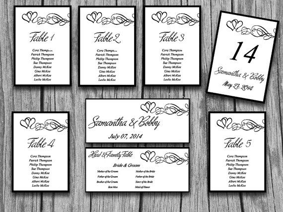 Heart Wedding Seating Chart Template Table Number Reception Hearts Swirl