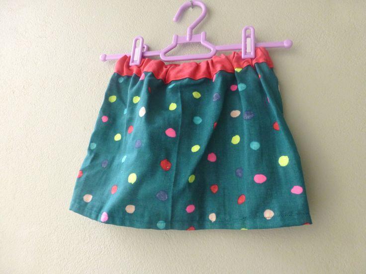 Cute polka dot skirt size 5 years - made of double gauze nani iro japanese fabric - egst, green skirt by ElliandPaul on Etsy