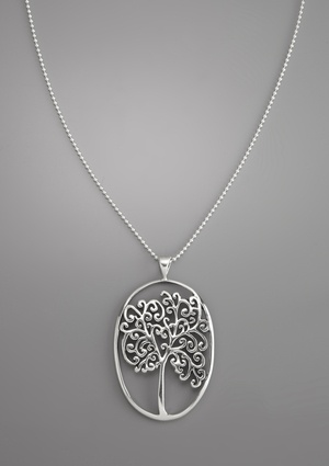 FEMME METALE Tree of Life Pendant Chain Link Necklace