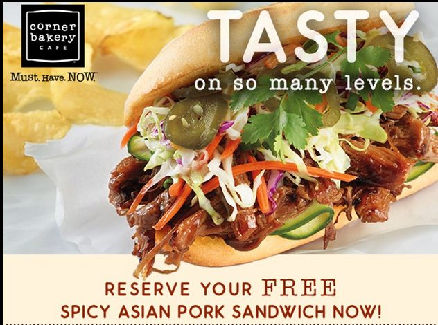 Go claim your free Spicy Asian Pork Sandwich at Corner Bakery. There are a limited number of free sandwiches available.