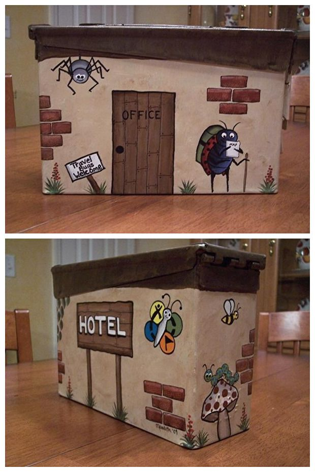 Cute Travel Bug Hotel ammo can hand painted by TeamAtlas.