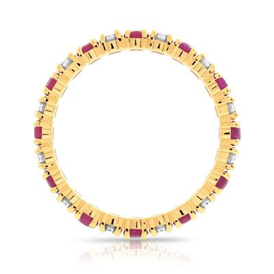 Alliance or 750 jaune rubis et diamant - vue 2