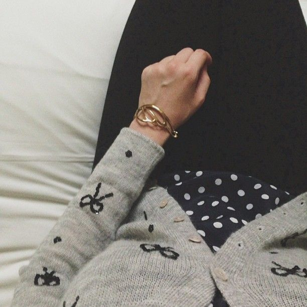 Polka dots and sequin bows worn together